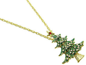 NECKLACE / LINK / METAL / CRYSTAL STONE / EPOXY COATED / CHRISTMAS TREE / 2 INCH DROP / 22 INCH LONG / NICKEL AND LEAD COMPLIANT