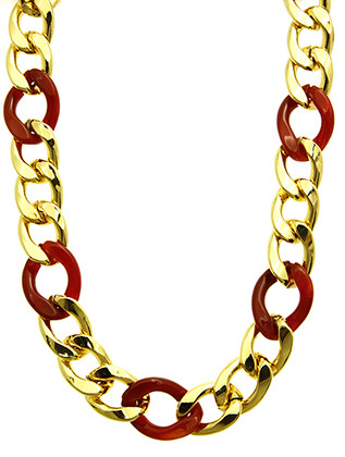 NECKLACE / METAL AND LUCITE / CHUNKY CHAIN / LINK / 18 INCH LONG / 3/4 INCH DROP / NICKEL AND LEAD COMPLIANT