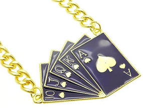 NECKLACE / LINK / METALCHAIN / EPOXY / GAME CARDS / POKER / 1 2/3 INCH DROP / 16 INCH LONG / NICKEL AND LEAD COMPLIANT