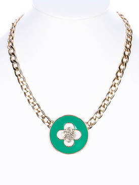 NECKLACE / LINK / METALCHAIN / EPOXY / 3/4 INCH DROP / 16 INCH LONG / NICKEL AND LEAD COMPLIANT