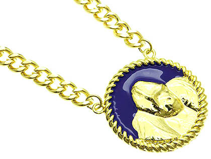 NECKLACE / LINK / METAL CHAIN / EPOXY / ANIMAL GORILLA / 2 INCH DROP / 18 INCH LONG / NICKEL AND LEAD COMPLIANT