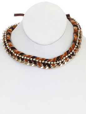 NECKLACE / LINK / METAL / FABRIC / VELVET / RHINESTONE / 2/3 INCH DROP / 17 INCH LONG / NICKEL AND LEAD COMPLIANT