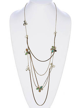 NECKLACE / LINK / TEXTURED BRASS / BURNISH / GLASS BEAD / EPOXY / FLOWER / MULTI STRANDED / PREMIUM COLLECTION / 26 INCH LONG / NICKEL AND LEAD COMPLIANT