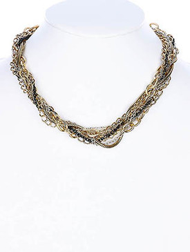 NECKLACE / LINK / BRASS / BURNISH / MULTISTRANDED / PREMIUM COLLECTION / 1/2 INCH DROP / 14 INCH LONG / NICKEL AND LEAD COMPLIANT