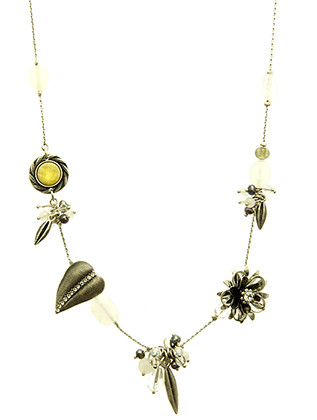 NECKLACE / AGED FINISH METAL / FLOWER LEAF CHARM / HOMAICA / CRYSTAL STONE / EPOXY / LINK / CHAIN / 16 INCH LONG / 1 INCH DROP / NICKEL AND LEAD COMPLIANT