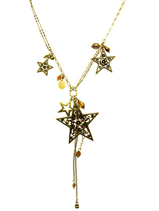 NECKLACE / FILIGREE / STAR CHARM / CRYSTAL STONE / HOMAICA BEAD / AGED FINISH METAL / CHAIN FRINGE / LINK / DOUBLE CHAIN / 26 INCH LONG / 5 1/4 INCH DROP / NICKEL AND LEAD COMPLIANT