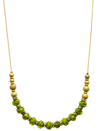 NECKLACE / FACETED MURANO GLASS BEAD / ADJUSTABLE / TEXTURED METAL BEAD / CRYSTAL STONE / CHAIN / 18 INCH LONG / 1/4 INCH DROP / NICKEL AND LEAD COMPLIANT