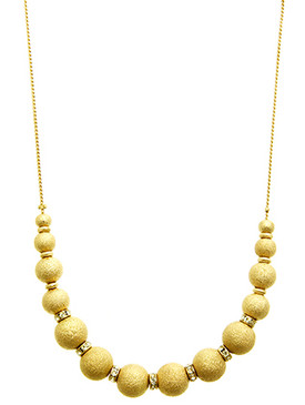 NECKLACE / TEXTURED METAL BEAD / ADJUSTABLE / CRYSTAL STONE / CHAIN / 18 INCH LONG / 1/4 INCH DROP / NICKEL AND LEAD COMPLIANT