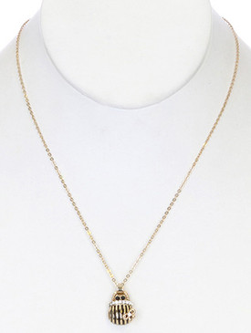 NECKLACE / LINK / METAL / CRYSTAL STONE / EPOXY / PURSE / 3/4 INCH DROP / 17 INCH LONG / NICKEL AND LEAD COMPLIANT