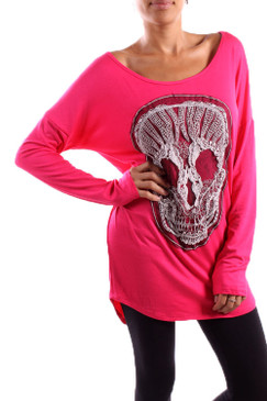 Long Sleeved Skull Patch Tee - Fuchsia