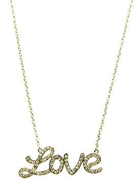 NECKLACE / PAVE CRYSTAL STONE / LOVE PENDANT / METAL SETTING / LINK / CHAIN / 20 INCH LONG / 1 INCH DROP / NICKEL AND LEAD COMPLIANT