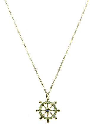 NECKLACE / AURORA STONE / SHIP WHEEL PENDANT / EPOXY / METAL SETTING / LINK / CHAIN / 16 INCH LONG / 1 INCH DROP / NICKEL AND LEAD COMPLIANT