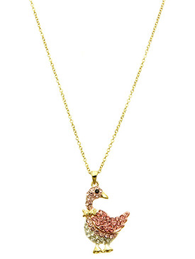 NECKLACE / PAVE CRYSTAL STONE / DUCK PENDANT / METAL SETTING / LINK / CHAIN / 16 INCH LONG / 1 1/2 INCH DROP / NICKEL AND LEAD COMPLIANT