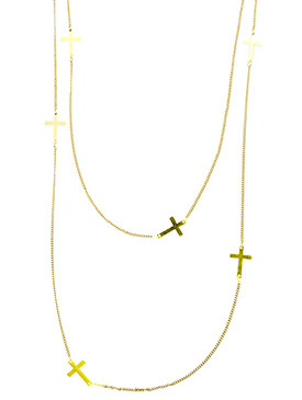 NECKLACE / DOUBLE LAYER / CROSS / METAL SETTING / LINK / CHAIN / 24 INCH LONG / 3 1/2 INCH DROP / NICKEL AND LEAD COMPLIANT