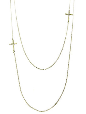 NECKLACE / DOUBLE LAYER / CROSS / PAVE CRYSTAL STONE / METAL SETTING / LINK / CHAIN / 24 INCH LONG / 3 INCH DROP /NICKEL AND LEAD COMPLIANT