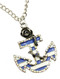 NECKLACE / ROSE / ANCHOR PENDANT / AURORA STONE / EPOXY / AGED FINISH METAL / LINK / CHAIN / 24 INCH LONG / 1 1/2 INCH DROP / NICKEL AND LEAD COMPLIANT