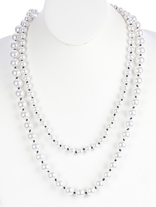 NECKLACE / DOUBLE LAYER / PEARL / KNOTTED CORD / 28 INCH LONG / 1 3/4 INCH DROP / NICKEL AND LEAD COMPLIANT