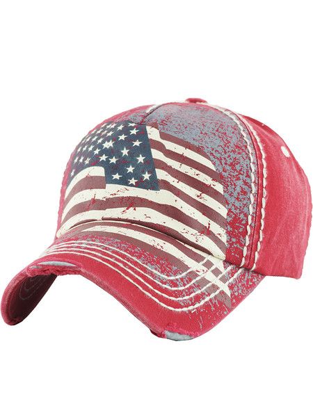 HAT AND CAP / AMERICAN FLAG / DISTRESSED AND FADED / STARS AND STRIPES / RED WHITE AND BLUE / STITCHING / BUCKLE BACK / ADJUSTABLE / ONE SIZE / NICKEL AND LEAD COMPLIANT
