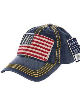 HAT AND CAP / AMERICAN FLAG / DISTRESSED AND FADED / STARS AND STRIPES / RED WHITE AND BLUE / PATCH / STITCHING / BUCKLE BACK / ADJUSTABLE / ONE SIZE / NICKEL AND LEAD COMPLIANT