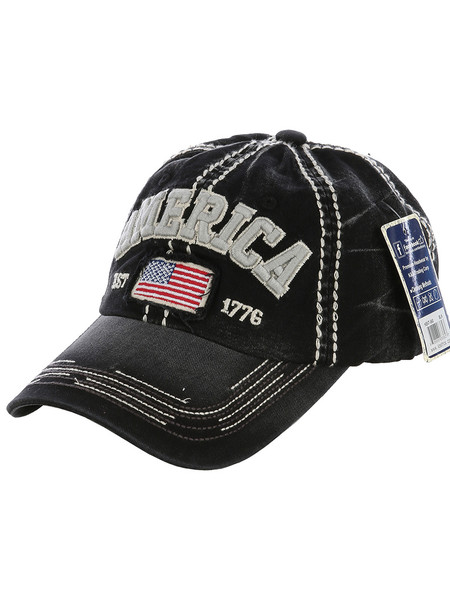 HAT AND CAP / AMERICA / FADED / STARS AND STRIPES / RED WHITE AND BLUE / AMERICAN FLAG / EST 1776 / PATCH / STITCHING / BUCKLE BACK / ADJUSTABLE / ONE SIZE / NICKEL AND LEAD COMPLIANT