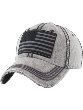 HAT AND CAP / RUBBER AMERICAN FLAG / DISTRESSED AND FADED / STARS AND STRIPES / PATCH / STITCHING / BUCKLE BACK / ADJUSTABLE / ONE SIZE / NICKEL AND LEAD COMPLIANT