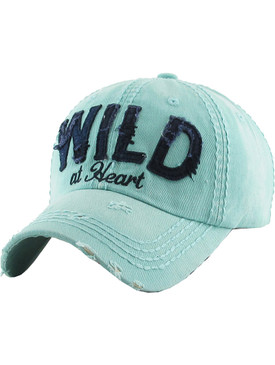 HAT AND CAP / WILD AT HEART / DISTRESSED AND FADED / PATCH / EMBROIDERY / STITCHING / BUCKLE BACK / ADJUSTABLE / ONE SIZE / NICKEL AND LEAD COMPLIANT