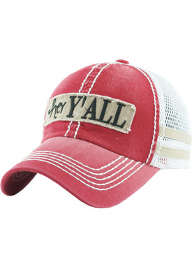 HAT AND CAP / HEY YALL / FADED TRUCKER / PATCH / EMBROIDERY / STITCHING / PLASTIC SNAP CLOSURE / ADJUSTABLE / ONE SIZE / NICKEL AND LEAD COMPLIANT