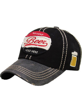 HAT AND CAP / ICE COLD BEER / DISTRESSED AND FADED / PATCH / SOLD HERE / STITCHING / EMBROIDERY / BUCKLE BACK / ADJUSTABLE / ONE SIZE / NICKEL AND LEAD COMPLIANT