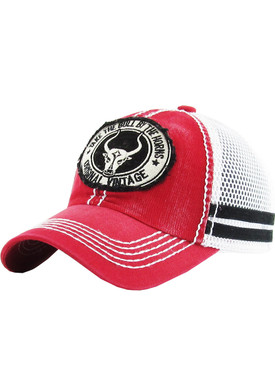 HAT AND CAP / LONGHORN / FADED TRUCKER / PATCH / TAKE THE BULL BY THE HORNS / EMBROIDERY / STITCHING / BUCKLE BACK / ADJUSTABLE / ONE SIZE / NICKEL AND LEAD COMPLIANT
