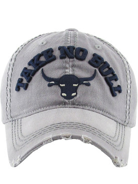 HAT AND CAP / TAKE NO BULL / DISTRESSED AND FADED / EMBROIDERY / STITCHING / BUCKLE BACK / ADJUSTABLE / ONE SIZE / NICKEL AND LEAD COMPLIANT