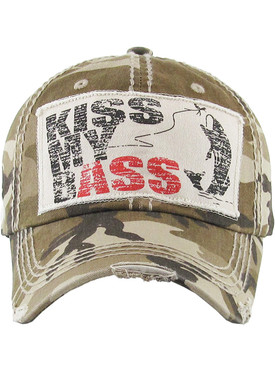 HAT AND CAP / KISS MY BASS / DISTRESSED AND FADED / PATCH / STITCHING / BUCKLE BACK / ADJUSTABLE / ONE SIZE / NICKEL AND LEAD COMPLIANT