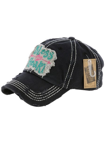 HAT AND CAP / BLESS YOUR HEART / DISTRESSED AND FADED / PATCH / EMBROIDERY / STITCHING / VELCRO BACK / ADJUSTABLE / ONE SIZE / NICKEL AND LEAD COMPLIANT