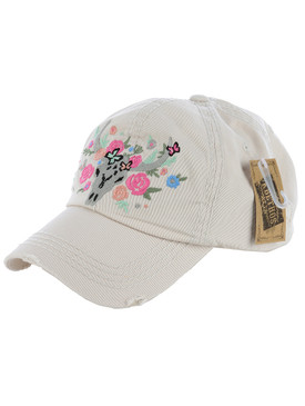 HAT AND CAP / FLOWERY LONGHORN / DISTRESSED AND FADED / EMBROIDERY / STITCHING / VELCRO BACK / ADJUSTABLE / ONE SIZE / NICKEL AND LEAD COMPLIANT