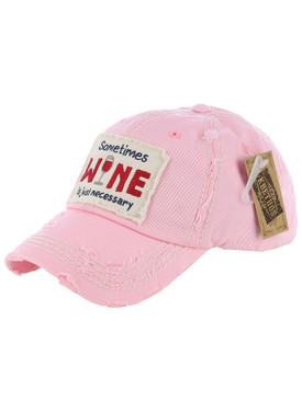 HAT AND CAP / WINE / DISTRESSED AND FADED / PATCH / SOMETIMES WINE IS JUST NECESSARY / EMBROIDERY / STITCHING / VELCRO BACK / ADJUSTABLE / ONE SIZE / NICKEL AND LEAD COMPLIANT