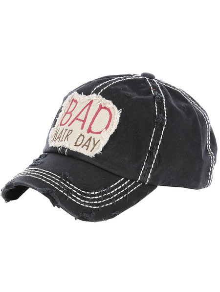 HAT AND CAP / BAD HAIR DAY / DISTRESSED AND FADED / PATCH / EMBROIDERY / STITCHING / VELCRO BACK / ADJUSTABLE / ONE SIZE / NICKEL AND LEAD COMPLIANT