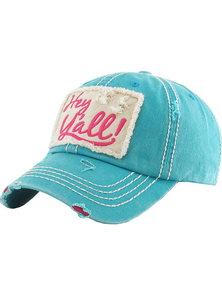 HAT AND CAP / HEY YALL / DISTRESSED AND FADED / PATCH / EMBROIDERY / STITCHING / VELCRO BACK / ADJUSTABLE / ONE SIZE / NICKEL AND LEAD COMPLIANT