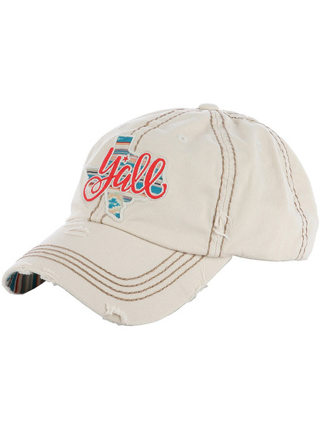 HAT AND CAP / TEXAS YALL / DISTRESSED AND FADED / EMBROIDERY / STITCHING / VELCRO BACK / ADJUSTABLE / HOME STATE / ONE SIZE / NICKEL AND LEAD COMPLIANT