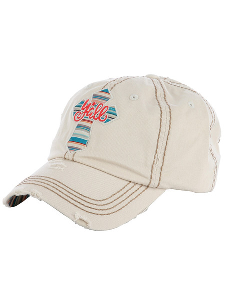 HAT AND CAP / CROSS YALL / DISTRESSED AND FADED / EMBROIDERY / STITCHING / VELCRO BACK / ADJUSTABLE / ONE SIZE / NICKEL AND LEAD COMPLIANT