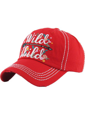 HAT AND CAP / WILD CHILD / DISTRESSED AND FADED / EMBROIDERY / STITCHING / VELCRO BACK / ADJUSTABLE / ONE SIZE / NICKEL AND LEAD COMPLIANT