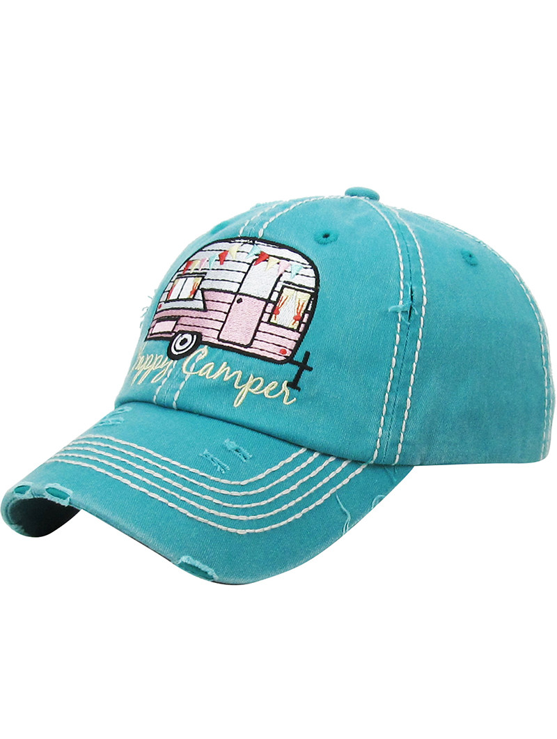 HAT AND CAP   HAPPY CAMPER   DISTRESSED AND FADED   EMBROIDERY   STITCHING    BUCKLE a767ba437bd9