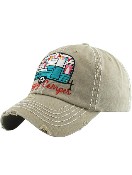 HAT AND CAP / HAPPY CAMPER / DISTRESSED AND FADED / EMBROIDERY / STITCHING / BUCKLE BACK / ADJUSTABLE / ONE SIZE / NICKEL AND LEAD COMPLIANT