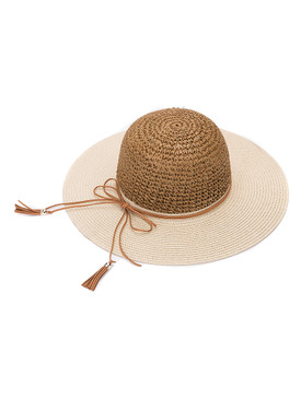 HAT AND CAP / FAUX SUEDE TRIM / FLOPPY STRAW / TASSEL / LARGE BRIM / BEACH / ADJUSTABLE STRING / ONE SIZE / NICKEL AND LEAD COMPLIANT