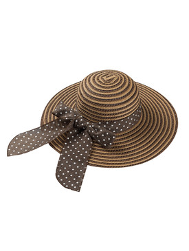 HAT AND CAP / POLKADOT BIG BOW TRIM / FLOPPY STRAW / LARGE BRIM / BEACH / ADJUSTABLE STRING / ONE SIZE / NICKEL AND LEAD COMPLIANT