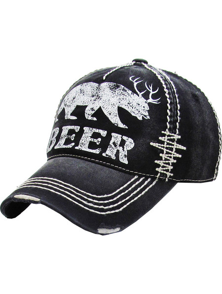 HAT AND CAP / MOOSE BEER / DISTRESSED AND FADED / STITCHED / BUCKLE BACK / ADJUSTABLE / ONE SIZE / NICKEL AND LEAD COMPLIANT