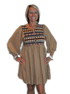 Neon Tribal Tunic - Beige