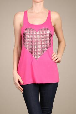 Studded Heart Tank - Pink