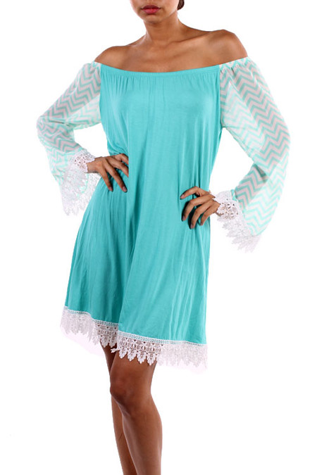 Off The Should Chevron Lace Sleeved Dress - Mint