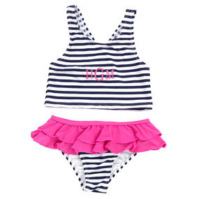 Kids Mini Navy Prep Stripe Swimsuit Set