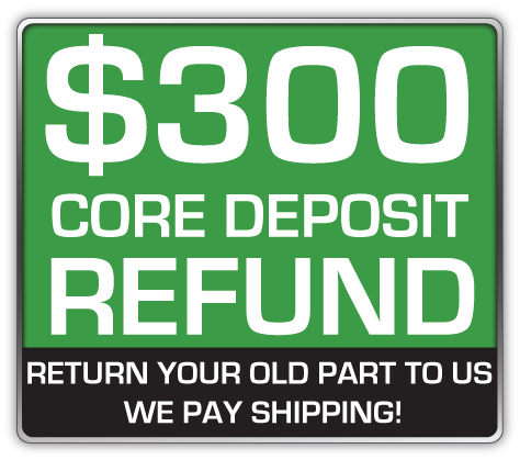 Core Deposit: THE SALES PRICE OF THIS ITEM INCLUDES A $300.00 REFUNDABLE CORE DEPOSIT. WE WILL REFUND $300.00 BACK TO YOU WHEN YOU RETURN YOUR OLD STRUTS TO US. (prepaid return label included Continental USA Only).