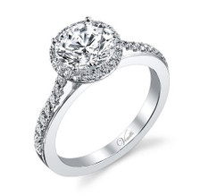 14K WHITE GOLD CLASSIC ROUND DIAMOND HALO ENGAGEMENT SEMI MOUNT